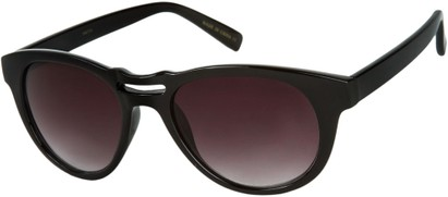 Angle of SW Retro Style #444 in Black Frame with Smoke Lenses, Women's and Men's