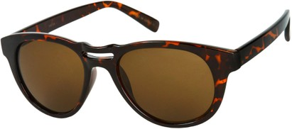 Angle of SW Retro Style #444 in Brown Tortoise Frame with Brown Lenses, Women's and Men's
