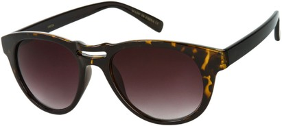 Angle of SW Retro Style #444 in Tan Tortoise/Black Frame with Smoke Lenses, Women's and Men's