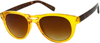 Angle of SW Retro Style #444 in Yellow/Tortoise Frame with Amber Lenses, Women's and Men's