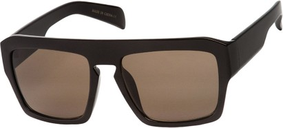 Angle of SW Flat Top Style #1980 in Glossy Black Frame with Grey Lenses, Women's and Men's