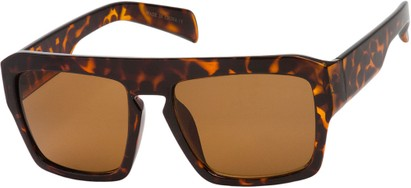 Angle of SW Flat Top Style #1980 in Glossy Tortoise Frame with Amber Lenses, Women's and Men's