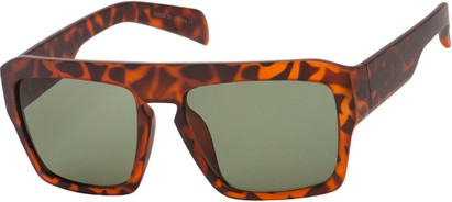 Angle of SW Flat Top Style #1980 in Matte Tortoise Frame with Green Lenses, Women's and Men's