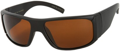 Angle of SW Polarized Style #1177 in Matte Black Frame with Brown Lenses, Women's and Men's