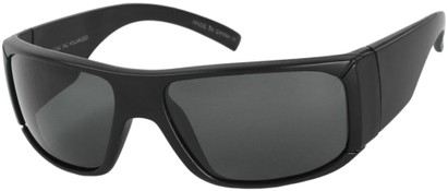 Angle of SW Polarized Style #1177 in Matte Black Frame with Grey Lenses, Women's and Men's