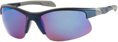 Angle of Speedway #8861 in Matte Blue Frame with Blue Mirrored Lenses, Women's and Men's Sport & Wrap-Around Sunglasses