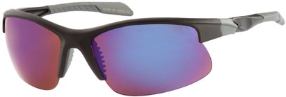Angle of Speedway #8861 in Matte Black Frame with Amber/Blue Mirrored Lenses, Women's and Men's Sport & Wrap-Around Sunglasses