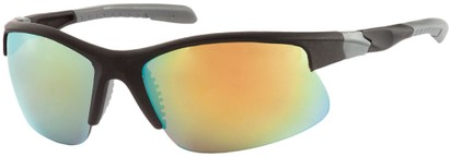 Angle of Speedway #8861 in Matte Black Frame with Yellow Mirrored Lenses, Women's and Men's Sport & Wrap-Around Sunglasses