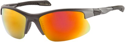 Angle of Speedway #8861 in Matte Grey Frame with Orange Mirrored Lenses, Women's and Men's Sport & Wrap-Around Sunglasses