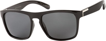 Angle of Wave #5391 in Glossy Black Frame with Grey Lenses, Women's and Men's Retro Square Sunglasses