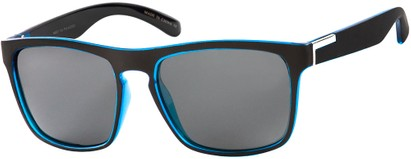 Angle of Wave #5391 in Matte Black/Blue Frame with Grey Lenses, Women's and Men's Retro Square Sunglasses