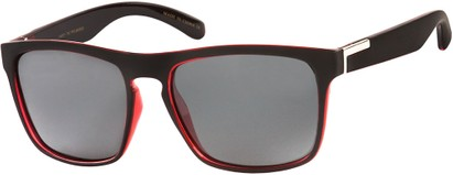 Angle of Wave #5391 in Matte Black/Red Frame with Grey Lenses, Women's and Men's Retro Square Sunglasses