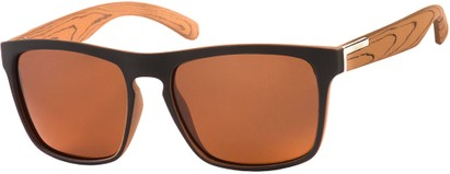 Angle of Wave #5391 in Matte Black/Wood Look Frame with Amber Lenses, Women's and Men's Retro Square Sunglasses