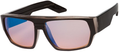 Angle of SW Flat Top Style #1390 in Grey Frame with Amber Mirrored Lenses, Women's and Men's
