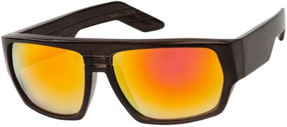 Angle of SW Flat Top Style #1390 in Black Frame with Orange Mirrored Lenses, Women's and Men's