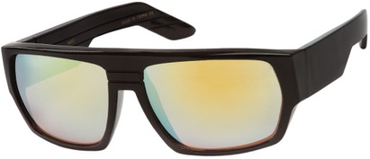 Angle of SW Flat Top Style #1390 in Black Frame with Yellow Mirrored Lenses, Women's and Men's