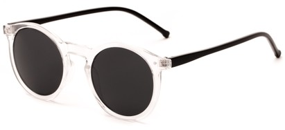 Angle of Atoll #4838 in Glossy Clear/Black Frame with Grey Lenses, Women's and Men's Round Sunglasses