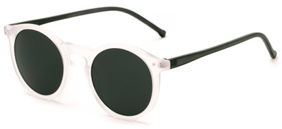 Angle of Atoll #4838 in Glossy Clear/Green Frame with Green Lenses, Women's and Men's Round Sunglasses