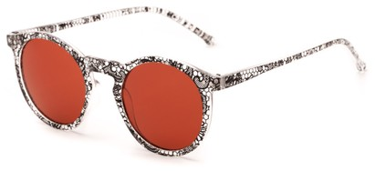 Angle of Atoll #4838 in Clear Lace Print Frame with Red Lenses, Women's and Men's Round Sunglasses
