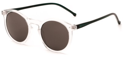 Angle of Atoll #4838 in Frosted Clear/Black Frame with Grey Lenses, Women's and Men's Round Sunglasses
