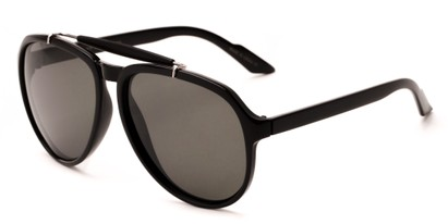 Angle of Bali #4870 in Glossy Black Frame with Grey Lenses, Men's Aviator Sunglasses
