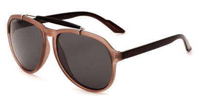 Angle of Bali #4870 in Matte Brown/Black Frame with Grey Lenses, Men's Aviator Sunglasses