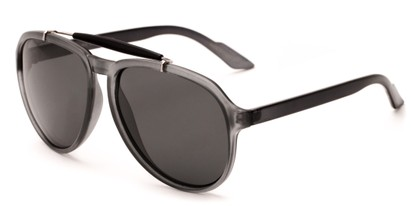 Angle of Bali #4870 in Matte Grey Frame with Grey Lenses, Men's Aviator Sunglasses