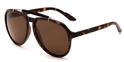 Angle of Bali #4870 in Matte Tortoise Frame with Brown Lenses, Men's Aviator Sunglasses