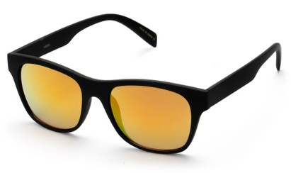 Angle of SW Retro Mirrored Style #5486 in Black Frame with Orange Mirrored Lenses, Women's and Men's