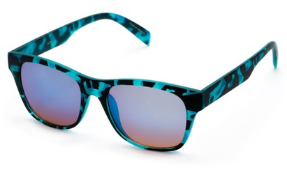 Angle of SW Retro Mirrored Style #5486 in Blue Tortoise Frame with Blue Mirrored Lenses, Women's and Men's