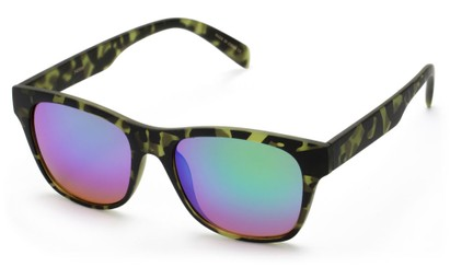 Angle of SW Retro Mirrored Style #5486 in Green Tortoise Frame with Green Mirrored Lenses, Women's and Men's