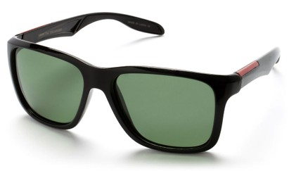 Angle of Carlsbad #5496 in Glossy Black Frame with Green Lenses, Women's and Men's  Sunglasses