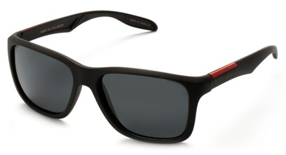 Angle of Carlsbad #5496 in Matte Black Frame with Smoke Lenses, Women's and Men's  Sunglasses