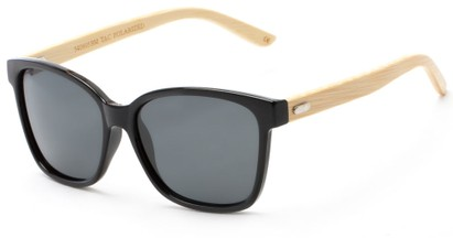 Angle of Valencia #5490 in Glossy Black Frame with Grey Lenses, Women's Retro Square Sunglasses