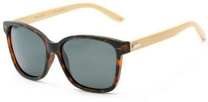 Angle of Valencia #5490 in Matte Tortoise Frame with Grey Lenses, Women's Retro Square Sunglasses