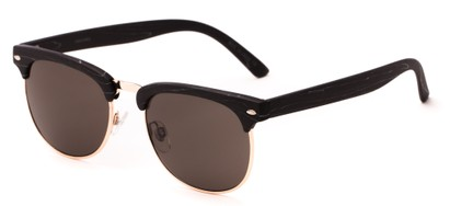 Angle of Plank #4096 in Black/Gold Frame with Grey Lenses, Women's and Men's Browline Sunglasses