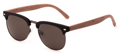 Angle of Plank #4096 in Black/Brown/Grey Frame with Grey Lenses, Women's and Men's Browline Sunglasses