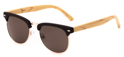Angle of Plank #4096 in Black/Yellow/Gold Frame with Grey Lenses, Women's and Men's Browline Sunglasses