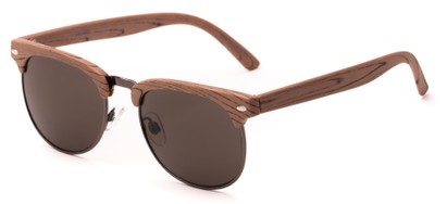 Angle of Plank #4096 in Tan Brown/Grey Frame with Grey Lenses, Women's and Men's Browline Sunglasses