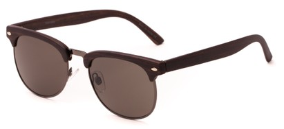 Angle of Plank #4096 in Dark Brown/Grey Frame with Grey Lenses, Women's and Men's Browline Sunglasses