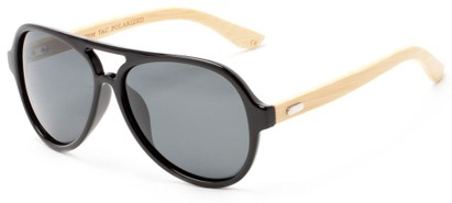 Angle of Timber #5409 in Glossy Black/Bamboo Frame with Smoke Lenses, Men's Aviator Sunglasses