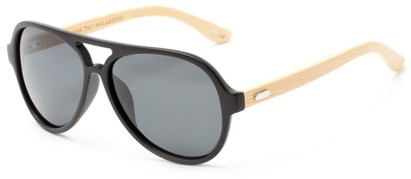 Angle of Timber #5409 in Matte Black/Bamboo Frame with Smoke Lenses, Men's Aviator Sunglasses