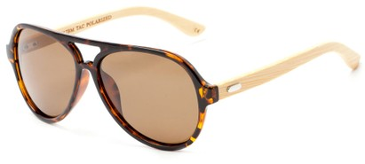 Angle of Timber #5409 in Glossy Tortoise/Bamboo Frame with Amber Lenses, Men's Aviator Sunglasses