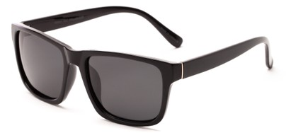 Angle of Hardy #4094 in Black Frame with Grey Lenses, Women's and Men's Retro Square Sunglasses