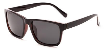 Angle of Hardy #4094 in Brown Frame with Grey Lenses, Women's and Men's Retro Square Sunglasses