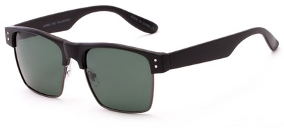 Angle of Belmar #5494 in Matte Black Frame with Green Lenses, Men's Browline Sunglasses