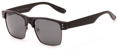 Angle of Belmar #5494 in Matte Black Frame with Grey Lenses, Men's Browline Sunglasses