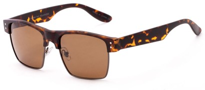 Angle of Belmar #5494 in Matte Tortoise Frame with Amber Lenses, Men's Browline Sunglasses
