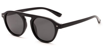 Angle of Bimini #5905 in Glossy Black Frame with Smoke Lenses, Women's and Men's Round Sunglasses