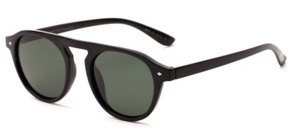 Angle of Bimini #5905 in Glossy Black Frame with Green Lenses, Women's and Men's Round Sunglasses
